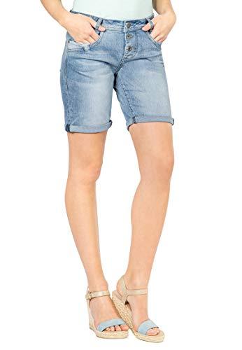 Fresh Made Damen Boyfriend Jeans Bermuda-Shorts im Used Look Blue XXL