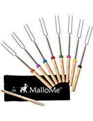 Image of MalloMe Marshmallow Roasting Smores Sticks - Camping Accessories for Campfire Fire Pit Cooking - Set (Set of 8): Bestviewsreviews