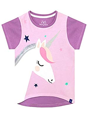 Harry Bear Camiseta de Manga Corta para niñas Unicornio Morado 9-10 Años