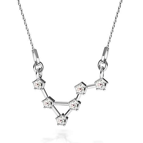 Beforia Paris - halsketting - sterrenbeeld - weegschaal - kristal - met zilveren ketting van 925 zilver met Swarovski® Elements hanger, cadeau, halsketting met sieradenetui PIN/75