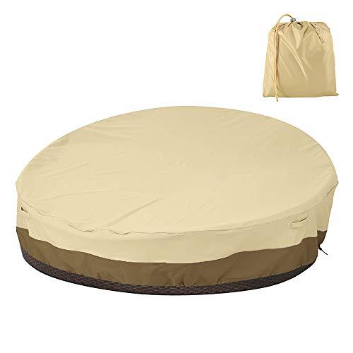 ATopoler Funda Protectora Redonda para Sofá Cama de Jardín Impermeable 228 * 83cm para Sala de Estar Exterior Oxford(210D/420D) Anti-UV y Resistente al Viento (420D)