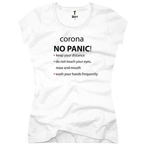 Maglietta da donna con stampa Maglietta con motivo coronavirus Maglietta in cotone bianco S