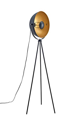 Archiology Spoon Series - Sand Black Steel Tripod Floor Lamp with Inner Gold Shade, 63'