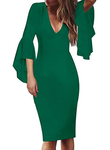 VFSHOW Womens V Neck Ruffle Bell Sleeve Cocktail Party Sheath Pencil Dress 2281 GRN S Green