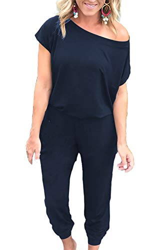 Alelly Women's Loose Fit Off Shoulder Elastic Waist Beam Foot Jumpsuit Rompers with Pockets Navy
