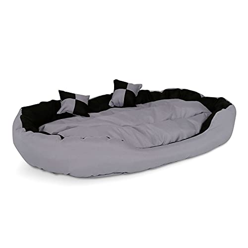 lionto by dibea Cama para perros 4 en 1 cojín para perros cesta para perros con cojín reversible (M) 85x70 cm negro/gris