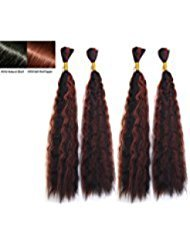 Hot selling Wet N Wavy Bulk hair, Top Quality Synthetic Fibers, Bulk Hair for Micro Braiding or Crochet Braiding, Super Bulk Style 2 Packs (4 Bundles) Deal, Length 18 Inch Color OMBRE #1B/#350