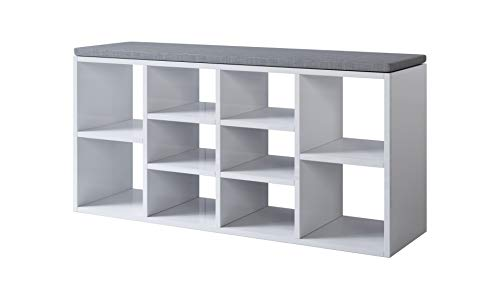 muebles bonitos Zapatero Amplio con cojín Acolchado Atlantis en Color Blanco