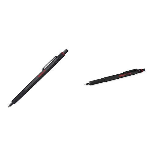Rotring Bolígrafo 600, punta mediana, tinta negra, vástago negro, recargable +1904443 Portaminas 🔥