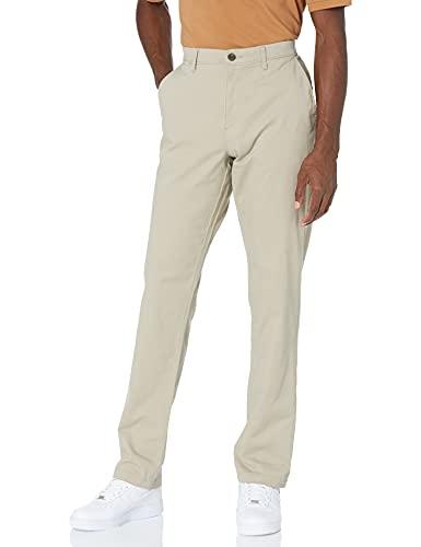 Amazon Essentials - Pantalones chinos elásticos informales de corte atlético, Caqui, 33W x 28L
