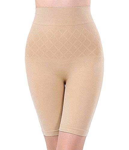 A J CREATION Women's Cotton Lycra Tummy Control 4-in-1 Blended High Waist Thigh Shapewear (AJ007, Beige, XL)