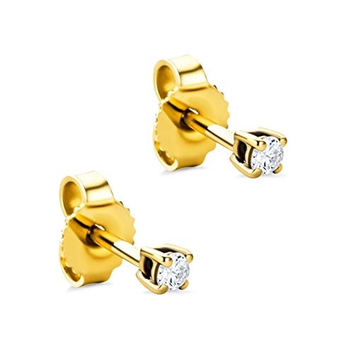 Orovi Damen Ohrringe mit Diamanten Gelbgold Solitär Ohrstecker 9 Karat (375) Gold und Diamant Brillanten 0.08 Ct Ohrring Handgemacht in Italien