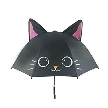 TAIYUAN Parapluie pour Enfants Cute Cartoon Enfants Animation Parapluie modélisation créatif Oreille 3D Long Manche Parapluie Enfants for Les garçons Filles Extérieur (Color : Black Cat)