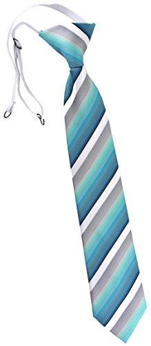TigerTie Kinderkrawatte in türkis mint grau weiß schwarz gestreift - Krawatte vorgebunden mit Gummizug
