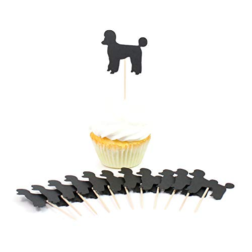 Super special price Poodle Cupcake Toppers Set of 12 B Black Dog Cake Topper Popular standard
