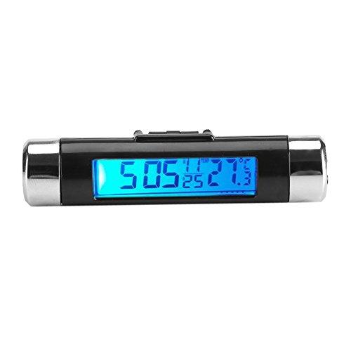 Smandy Auto LCD digitales Clip Thermometer Uhr Digital LED Auto Uhr Thermometer Fahrzeug Armaturenbrett Uhr Elektronische Zeit Klimaanlage Vent (Blue Backlight)
