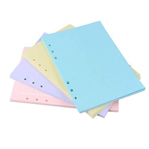 TomaiBaby Papel de Hoja Suelta Papel de Relleno de Carpeta Colorido Papel de Relleno de Perforadora de 6 Orificios Índice A5 Divisores de Etiquetas Divisores de Papel Planificador Insertos