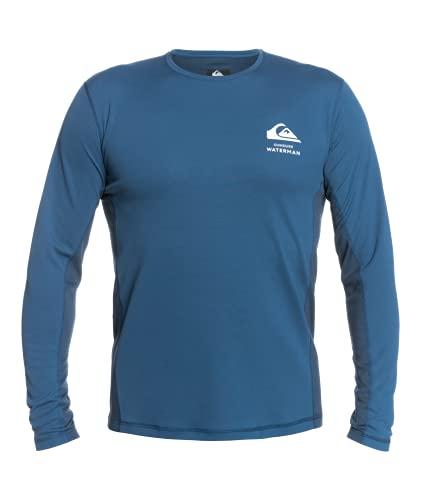 Quiksilver Waterman Men's Bamboo Check Long Sleeve Rashguard Surf Tee Shirt, Ensign Blue, L