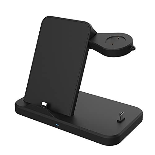 SHURROW Auriculares 3 en 1, teléfono móvil, Reloj Inteligente, Cargador, Base de Carga para-Huawei Watch-GT / 2 / 2e Honor-Magic / -Magic 2 / Dream Charging Dock, Negro