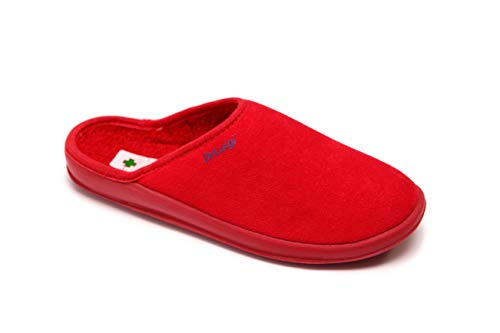DrLuigi Medical Slippers for Women - House Slippers Memory Foam Shoes Indoor Outdoor Italian Cotton - Made in EU - Relieves Pressure, Improves Peripheral Blood Circulation - Red 8 F US