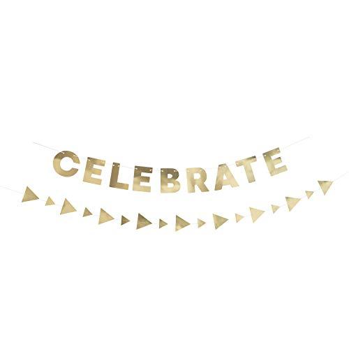 Guirnaldas de papel – Papel dorado'Celebrate' y guirnaldas triangulares – Juego de 2