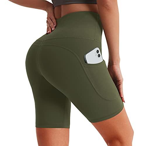 "Desol 5""/6""/8"" Yoga Shorts with Pockets, High Waist Biker Shorts for Women, Tummy Control Workout Running Tight Shorts"