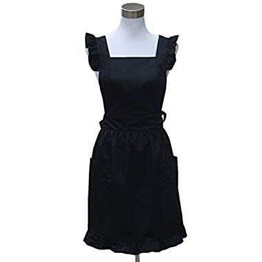 Hyzrz Lovely White Retro Lady's Aprons for Women's Cake Kitchen Fashion Cook Apron Chic with Pockets for Gift Chic 100% Cotton (Black)
