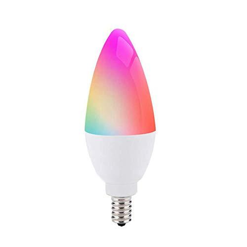 Bombilla de luz inteligente E12 / E14 Tuya Zigbee, brillo ajustable, bombilla de luz de control de voz con cambio de color LED de 5 W, se puede usar con Alexa Echo,...