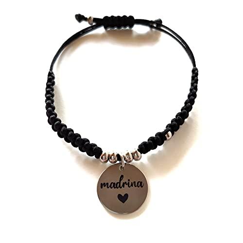 Pulsera Madrina, regalo original Madrina, Pulsera de acero ajustable para mujer
