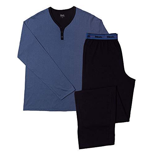 Pijama Algodão Manga Longa C/Bordado Mash, Mash, Azul Marinho, M