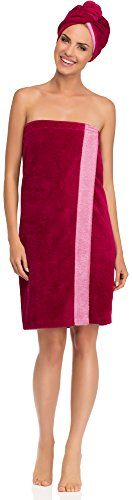 Merry Style Damen Saunakilt Wellness Turban Set 13007 (Amaranth/Rosa, XXL)