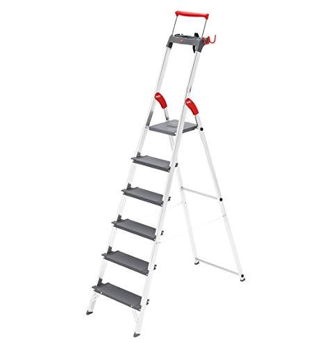 Preisvergleich Produktbild Hailo ProfiLine S225 XXR Alu-Stufenstehleiter (6 XXL-Stufen,  Plattform-Verriegelung,  belastbar bis 225 kg,  Ablageschale,  ausziehbarer Haltebügel) 8896-027