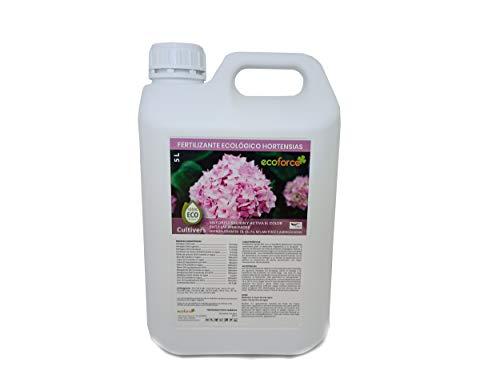 CULTIVERS Fertilizante Ecológico Hortensias Líquido 5 L. Mayor Floración y Intensifica el Color. Plantas sanas y Fuertes. Abono 100% Natural