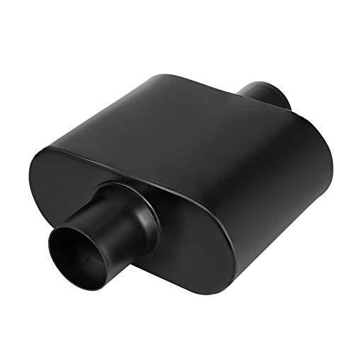 2.5' Inlet Black Muffler, AUTOSAVER88 Universal Single Chamber Black Racing Muffler, Deep Sound for Cars, 12.5' Overall Length