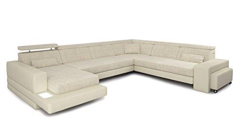 Bullhoff by Giovanni Capellini Couch Sofa XXL Wohnlandschaft U-Form Leder Stoff weiß Creme Designsofa Ecksofamit LED-Licht Beleuchtung Imola
