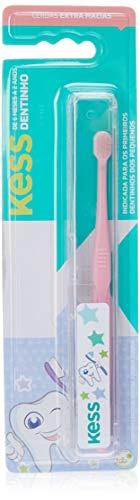 Escova Dental Infantil Dentinho com Estojo Protetor, Kess, Azul/Rosa