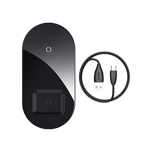 Cargador Inalámbrico Dual, Almohadilla de Carga Inalámbrica Qi para 2 Dispositivos, 7.5W Compatible iPhone 11/11 Pro / 11 Pro MAX/XS MAX/XR/X / 8, 15W Galaxy S10 / Note 10,A