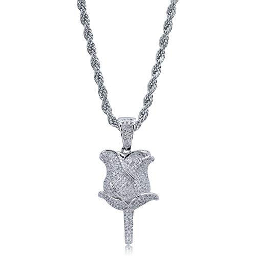 TOPGRILLZ Iced Out Lab Simulated Diamond Bling Bubble Rose Pendant Necklace for Women Men Fashion Gifts (Silver Rose)