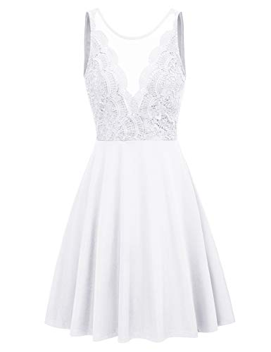 Women Sleeveless A Line Cocktail Party Dress Elegant Lace Sress Large White