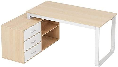 Escritorio de pie en forma de L con 3 cajones para ordenador portátil, escritorio, moderno y resistente, para estación de trabajo, hogar, oficina, muebles de ordenador
