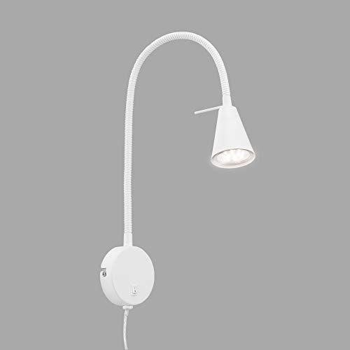 Briloner Leuchten LED Bettlampe, Bettleuchte Flexarm, inkl. An-/Ausschalter, 4 Watt, 400 Lumen, 3.000 Kelvin, Metall, Weiß, 4 W
