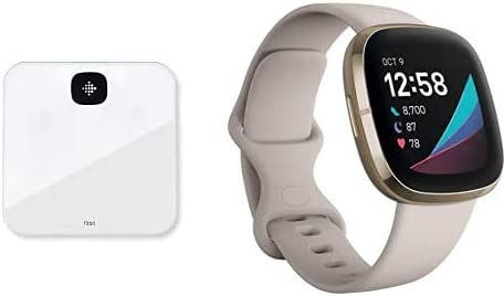 Fitbit sense blanco + báscula inteligente Fitbit Aria blanca