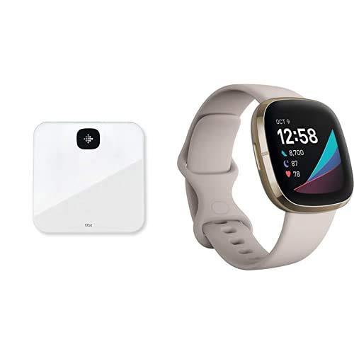 Fitbit Aria Air Bilancia intelligente + Smartwatch Evoluto con Strumenti per la Salute del Cuore, Gestione dello Stress, Monitoraggio della Temperatura Cutanea