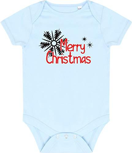 Kleckerliese Baby Body Vintage Kurzarm Sprüche Jungen Mädchen Motiv Merry Christmas Sterne Eisstern, Paleblue, 0-3 Monate