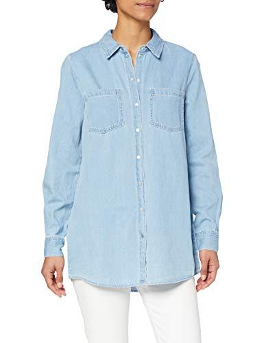 Vero Moda VMMILA LS Long Shirt Mix GA Blusas, Mezclilla De Color Azul Claro, S para Mujer