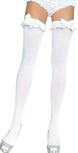 Leg Avenue Damen Halterlose Strümpfe 70 DEN Nylon Weiß mit weißen Schleifen und Satin Rüschen Einheitsgröße 36 bis 40