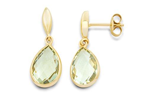 Miore Damen-Ohrringe 9 Karat (375) Gelbgold Amethyst grün Tropfen facettiert