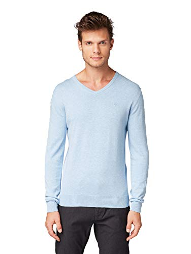 TOM TAILOR Herren Pullover & Strickjacken Schlichter Strickpullover Daylight Blue Melange,M
