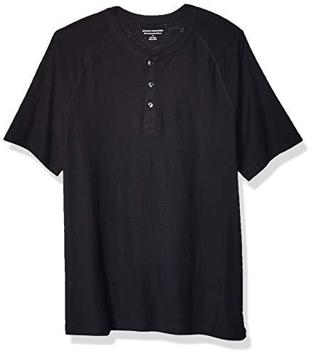 Amazon Essentials Men's Slim-Fit Short-Sleeve Slub Henley T-Shirt, Black, Large