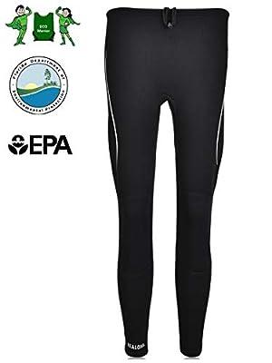 REALON Swim Tights Wetsuit Pants Women 3mm Neoprene and 2mm Men Youth Triathlon Outdoor Sport UV Suit Leggings Girls Boys Surfing Scuba Diving Snorkel (2mm Men Women's White Stripe, S)